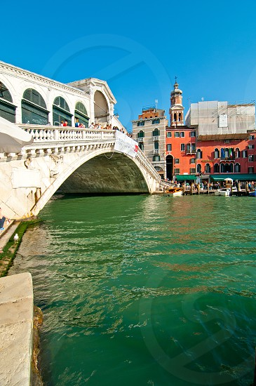 Venice Italy Rialto bridge view one of the icons of the town photo