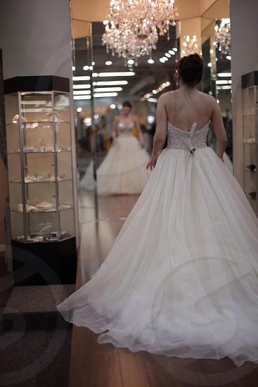 woman wearing wedding gown photo