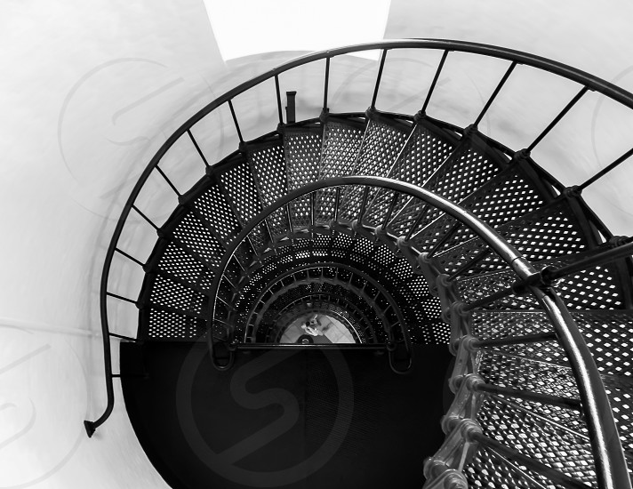 Architects architecture stairs spiral perspective black white contrast lines circle spiral staircase lighthouse Oregon Yaquina Head photo