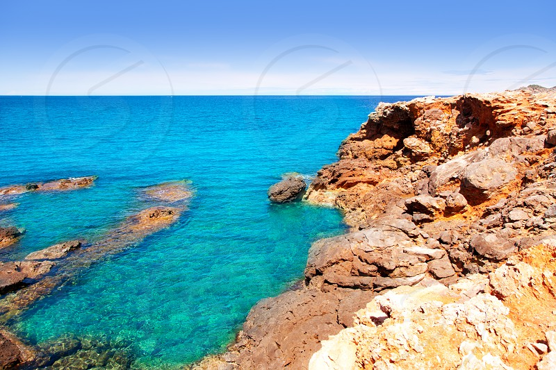 Ibiza Canal d en Marti Pou des Lleo beach in balearic islands of Mediterranean sea photo
