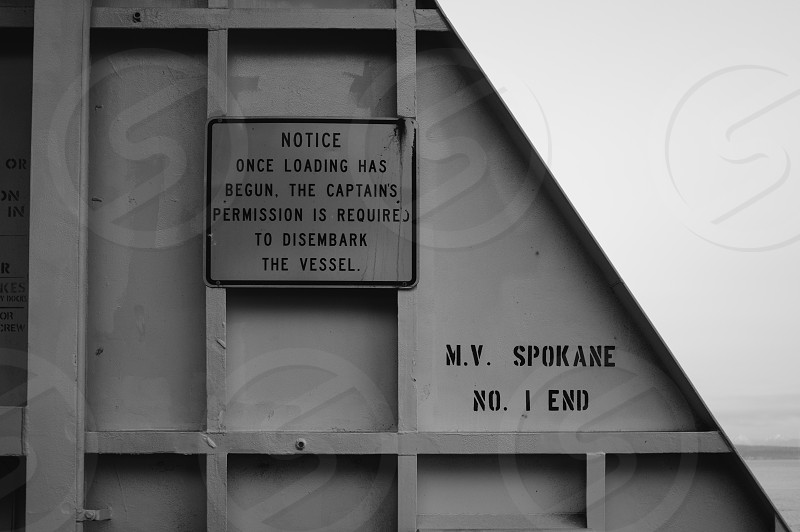 Interesting sign on the deck of the Spokane a Washington State Ferry that runs from Edmonds to Kingston.  photo