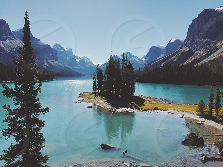 Maligne Lake Spirit Island Jasper National Park Alberta Canada scenic mountains lake photo