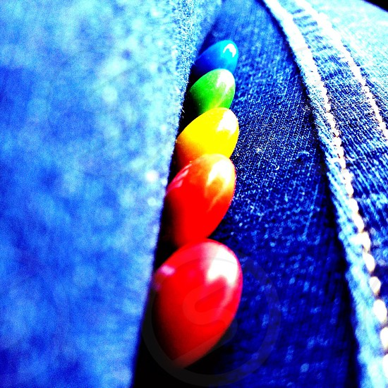 ~I took this colorful picture on jean fabric with M&Ms~ photo