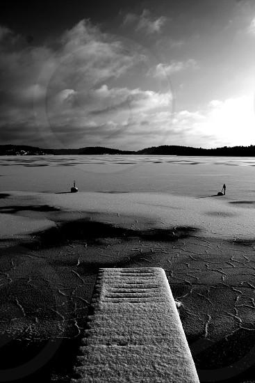 Sweden lake snow ice winter frozen photo