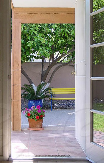 Open patio door looking out to potted plants and yellow bench photo