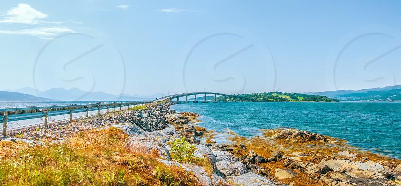 Bolsoy Bridge is a concrete beam bridge between the mainland and the island of Bolsoya. Molde. Norway photo