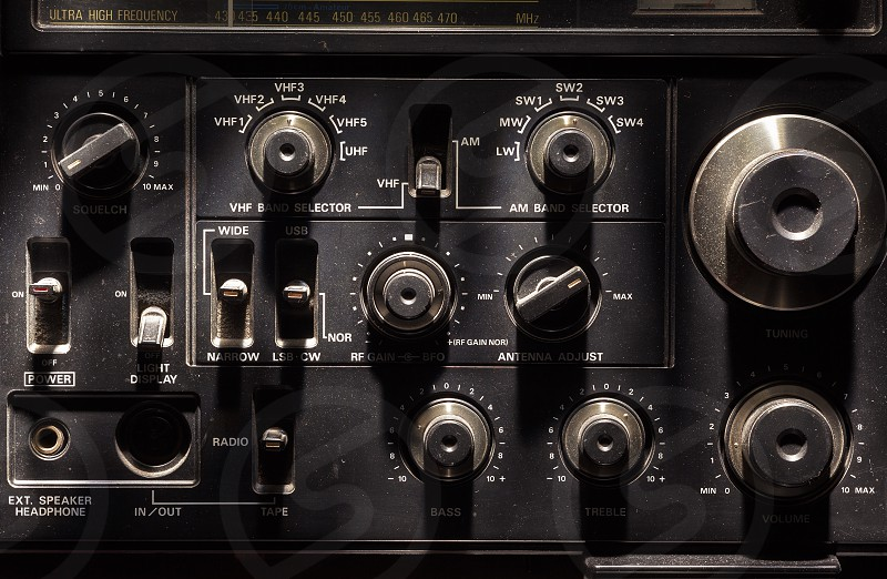 Old radio transmitter and receiver details closeup view.  photo