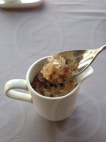 Sugar Brown White Crystal Serve Bowl Spoon Granule Sweet Raw  photo