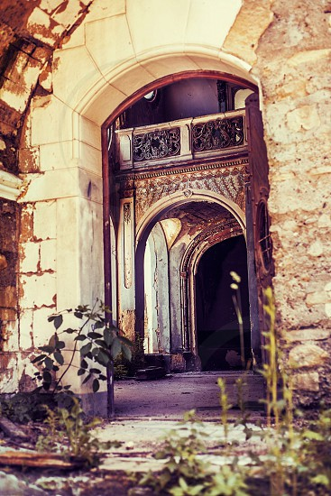 portal door doorway entrance rustic castle serbia abandoned colors architecture vintage photo
