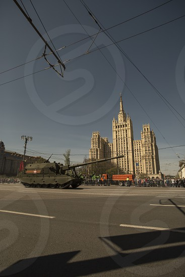 Russian army battle tank during the Great Victory parade rehearsal photo