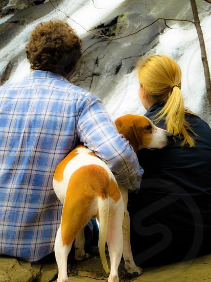 Couple dog nature companionship outside photo