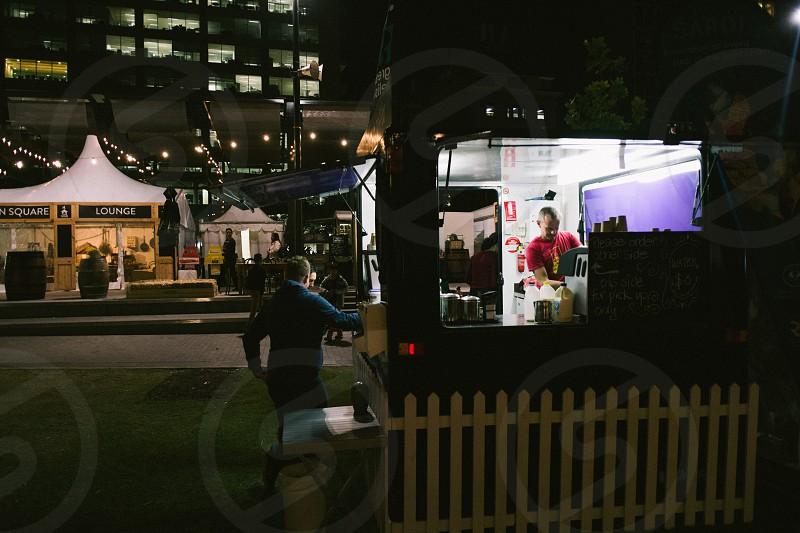 Food Market at  night. photo