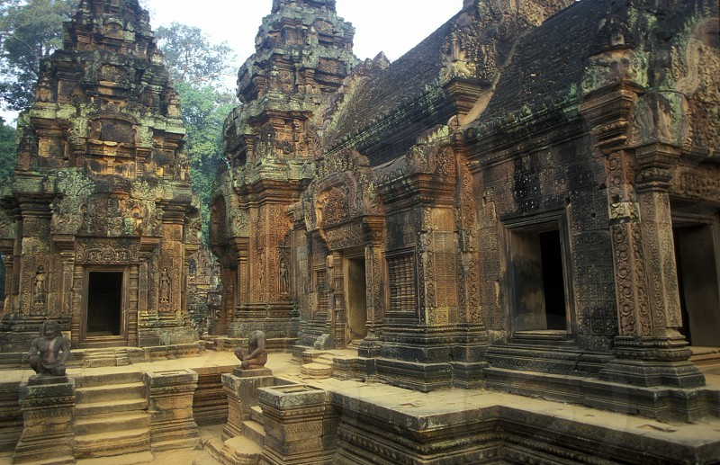 the Banteay Srei temple in Angkor at the town of siem riep in cambodia in southeastasia.  photo
