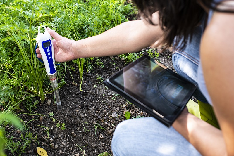 PH meter tester in soil. Measure soil with digital device and tablet. Woman farmer in a garden. Concept for new technology in the agriculture. photo