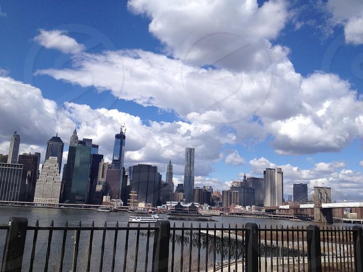 NYC Skyline Manhattan Skyscrapers clouds photo