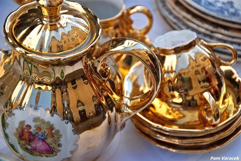 Teapots in European antique market photo