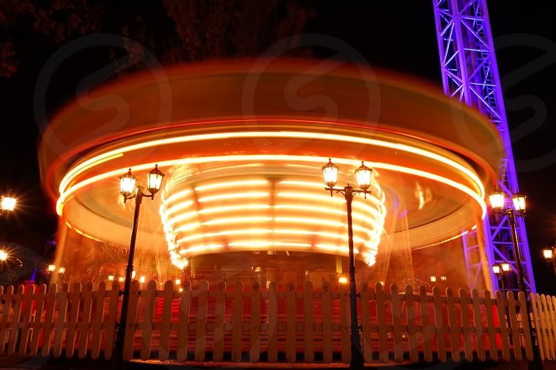 Ride at the Linnanmäki amusement park at night on 19 October 2017.  photo