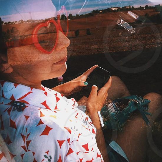 womens red plastic heart sunglasses photo