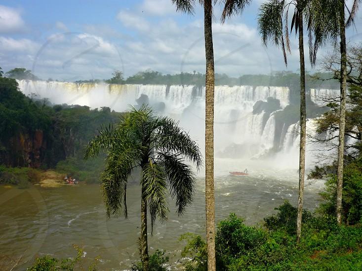 iguazu falls between native forest in argentina photo