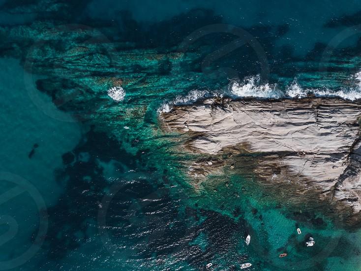 Aerial view of the sea near the coast photo