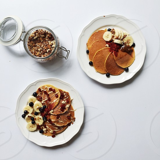Pancakes for two with granola  photo