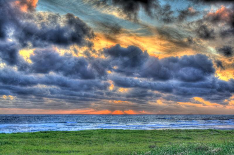 Cloudy Ocean Sunset Westport WA photo