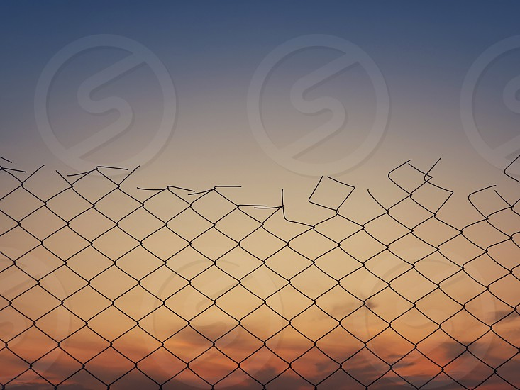 Old wire mesh fence texture against sunset sky background. photo