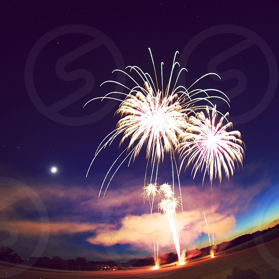 yellow sparkling firewoks photo