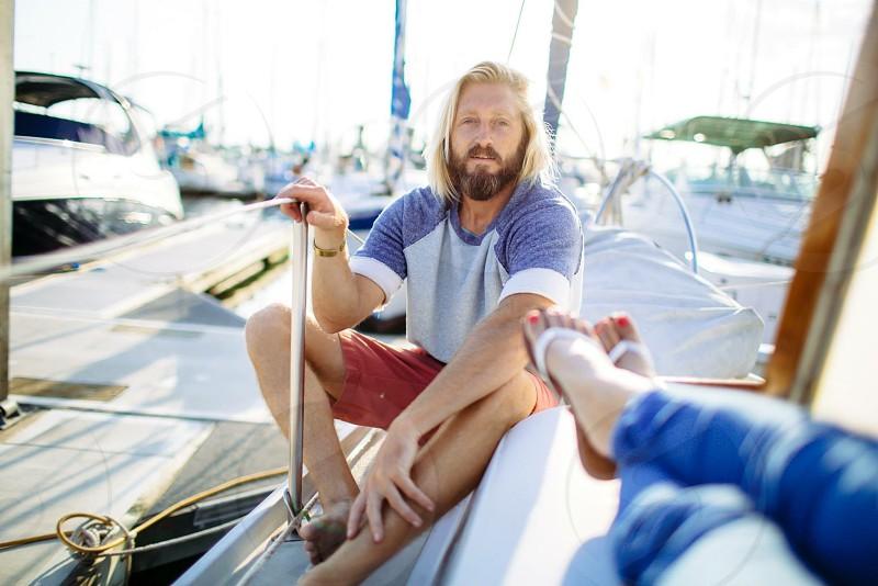 Boat life Sailing docks couple photo