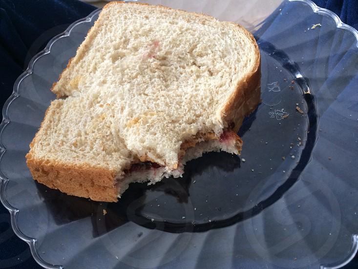 Lunchtimepbjbreadplatepeanut butterjam  photo