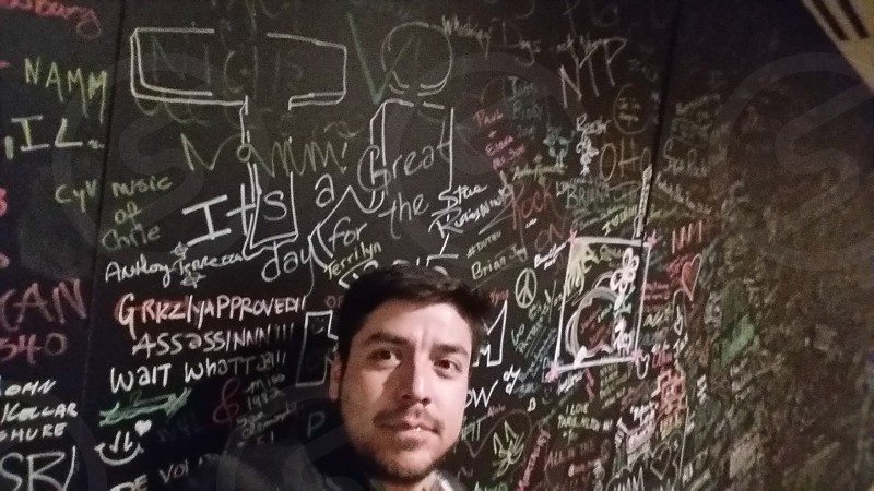 at the Hilton in Anaheim California.  NAMM 2015 attendees signed this wall in the lobby. photo
