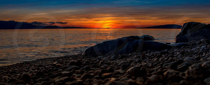 sunset in Zaostrogadriatic sea photo