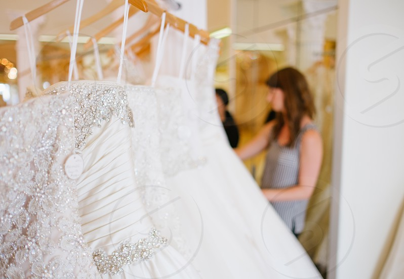 white lace wedding gown photo