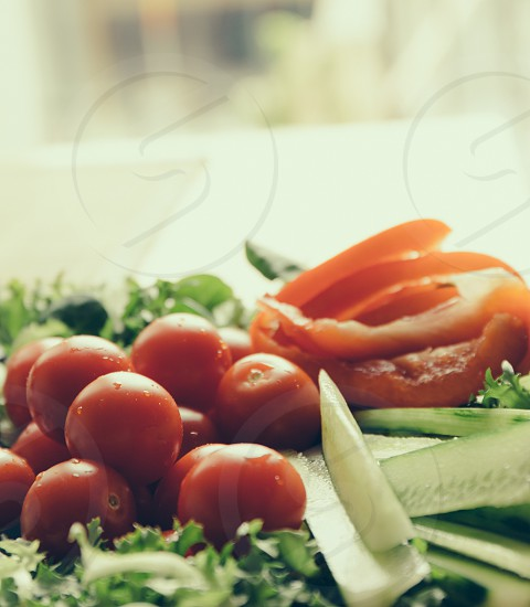 Vegetables tomato cucumber salad pepper photo