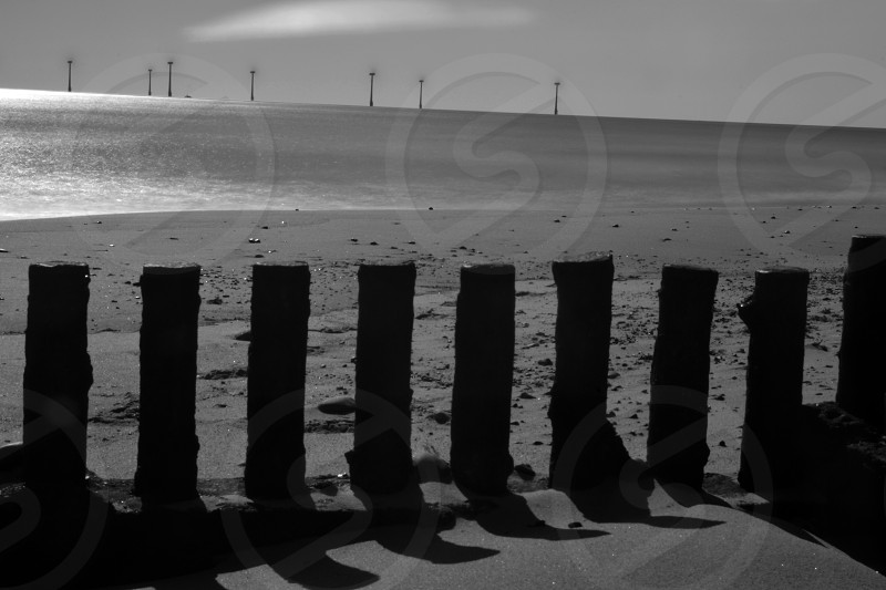Gorleston Beach Norfolk England UK Black and White photo