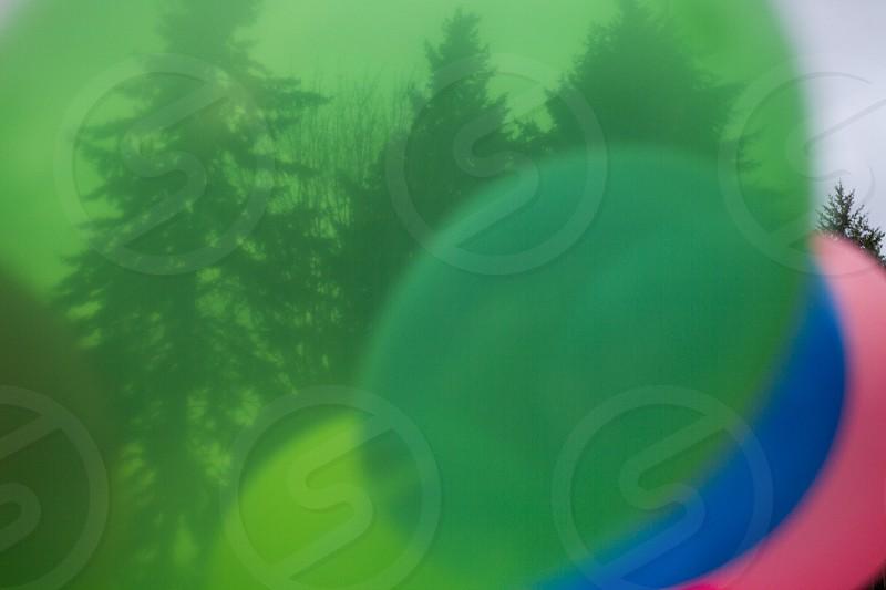 looking through balloons transparent green blue pink yellow close up photo