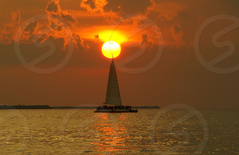 Key West at Sunset sailboat photo