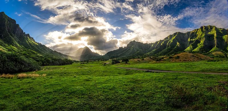 kualoa mountains hawai'i green photo