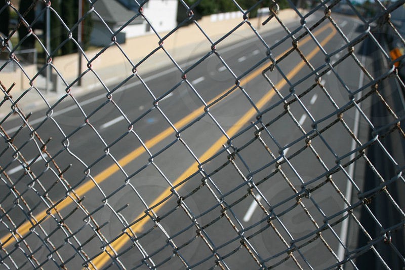 Wire fence street lines photo