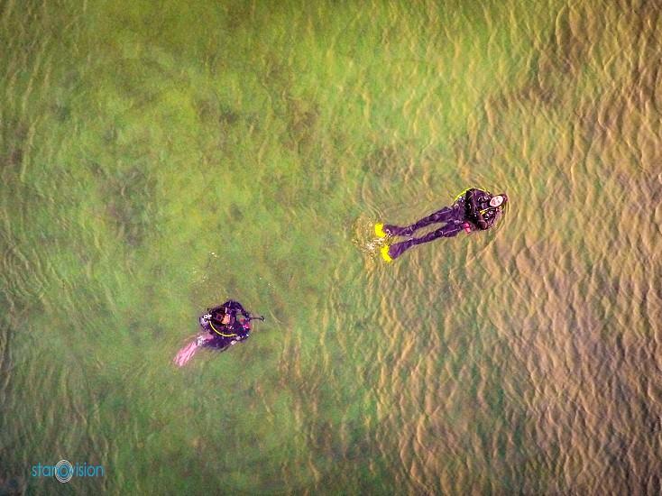 Drone 3DR Solo Ariel photography Monterey Bay scuba divers photo