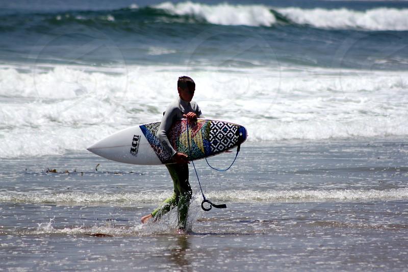 Surf surfer surf board waves beach ocean California photo