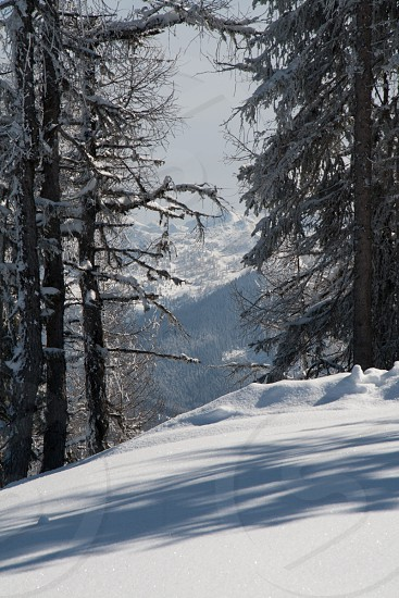 white snowy mountain photo