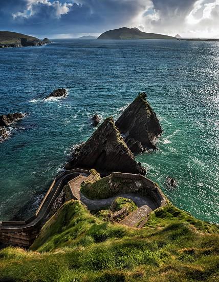 Sea ocean pier cliffs path ireland dunquinn summer photo