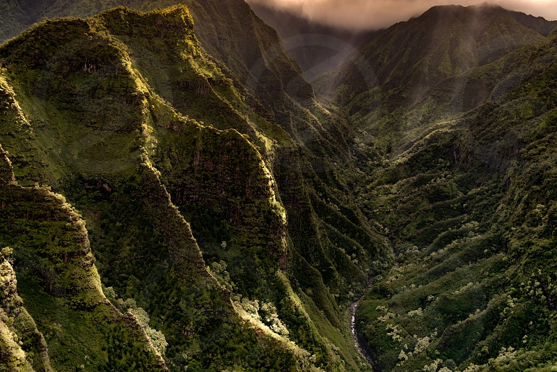 A view from above the Halelea Forest Reserve on the Island of Kauai Hawaii.   IG: @thesimmermon photo
