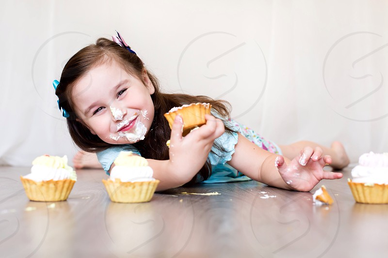 Cute girl with tasty cake candy sweet love girl home food happy joy crazy funny  photo