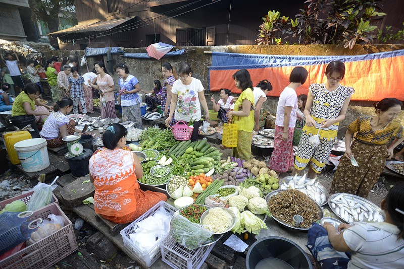 a smal streetmarket in the city of Myeik in the south in Myanmar in Southeastasia. photo