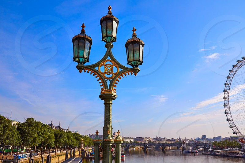 London Skyline from Thames river in England photo