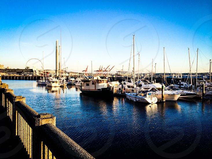 Travel vacation sailboat  marina waterfront destination photo