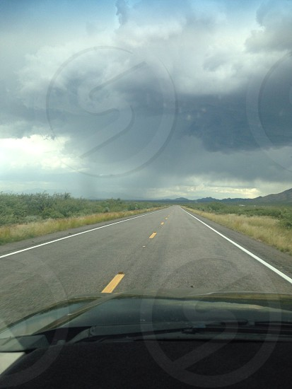 Open road Phoenix Arizona cloudy escalade photo