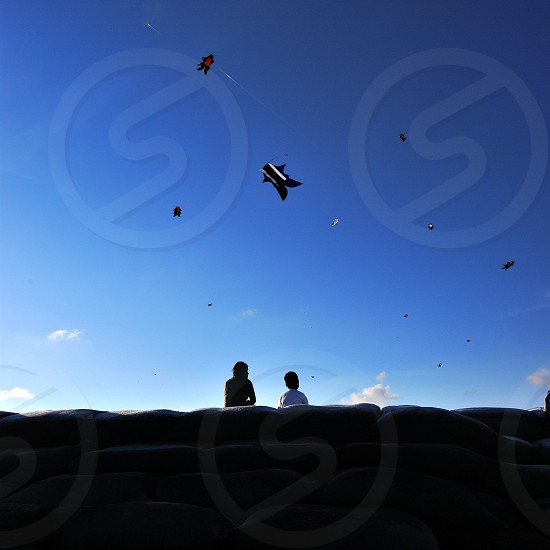 kids playing kite on the beach photo